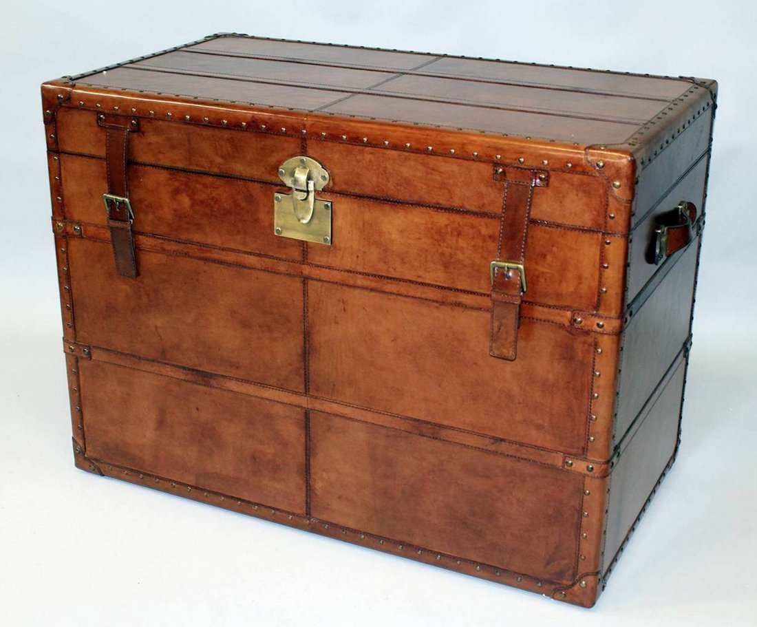 A GOOD LARGE LEATHER TRUNK, with interior removable