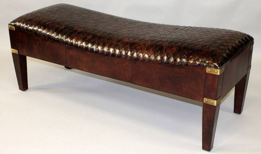 A GOOD WOVEN LEATHER UPHOLSTERED LONG STOOL. 4ft 0ins