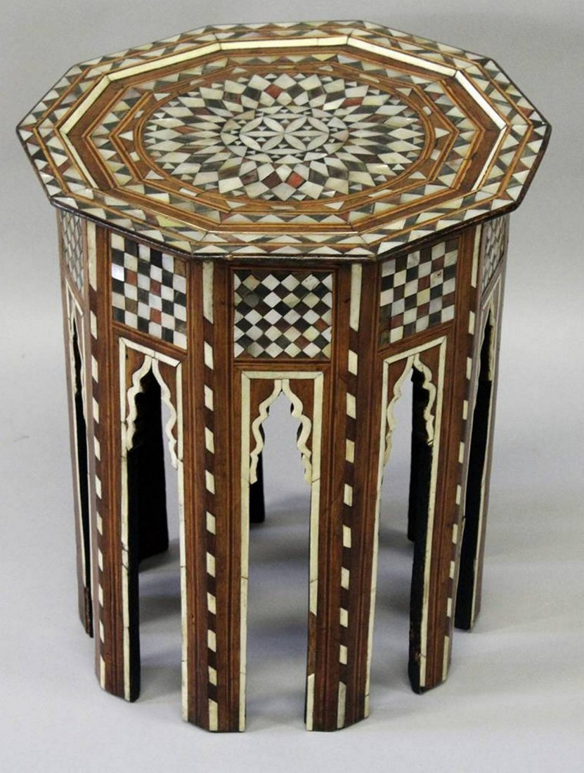 A GOOD TURKISH MOTHER-OF-PEARL AND TORTOISESHELL INLAID