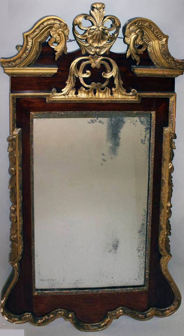 A GOOD GEORGE II MAHOGANY AND GILTWOOD PIER MIRROR,