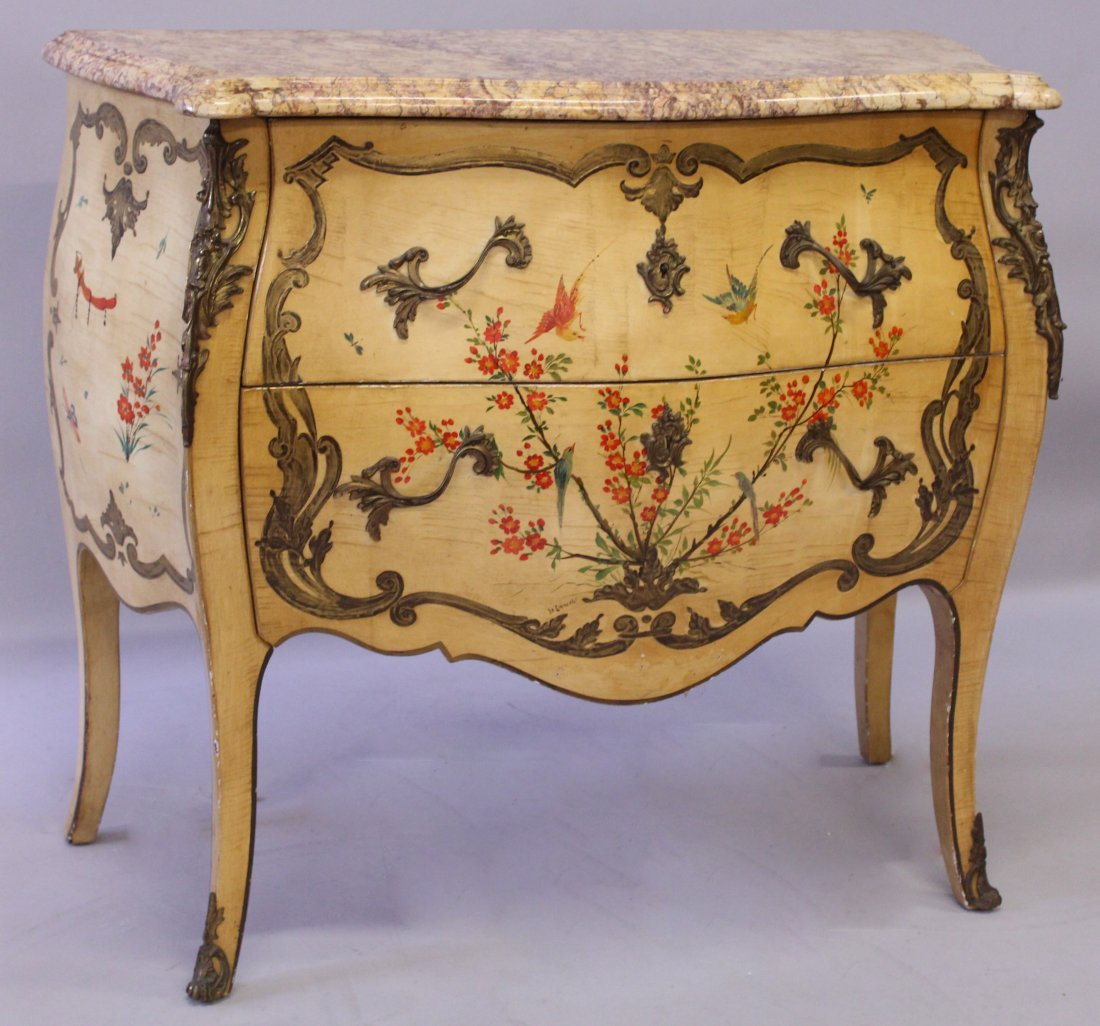 A GOOD SMALL LOUIS XVI STYLE, CIRCA. 1900, PAINTED