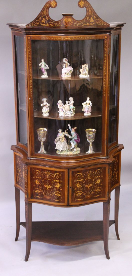 A SUPERB MAHOGANY AND MARQUETRY INLAID STANDING CHINA