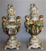 A GOOD PAIR OF DRESDEN STYLE FLOWER ENCRUSTED VASES