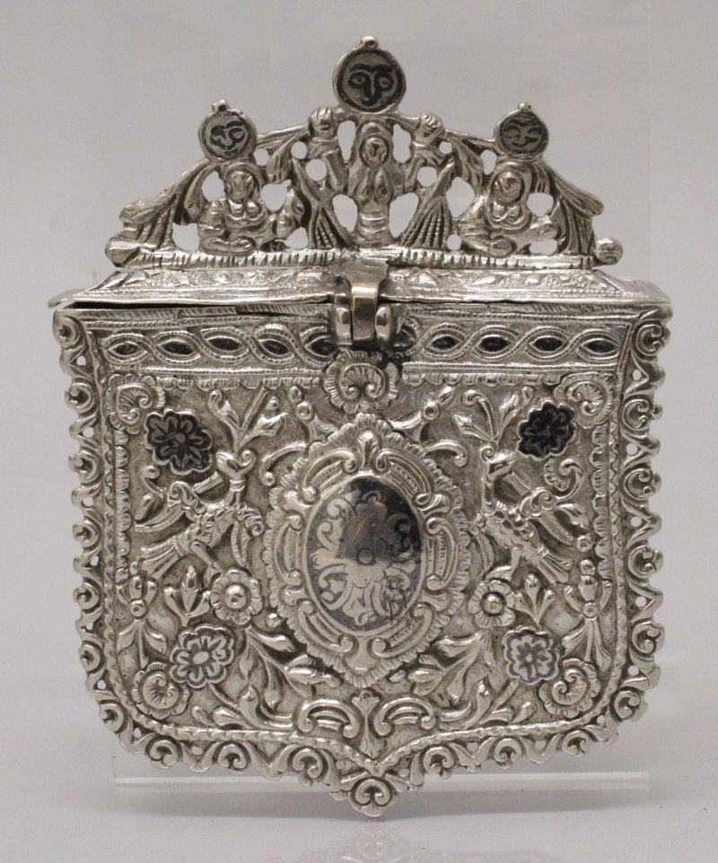 A 19TH CENTURY INDO-PERSIAN SILVER METAL BOX, with