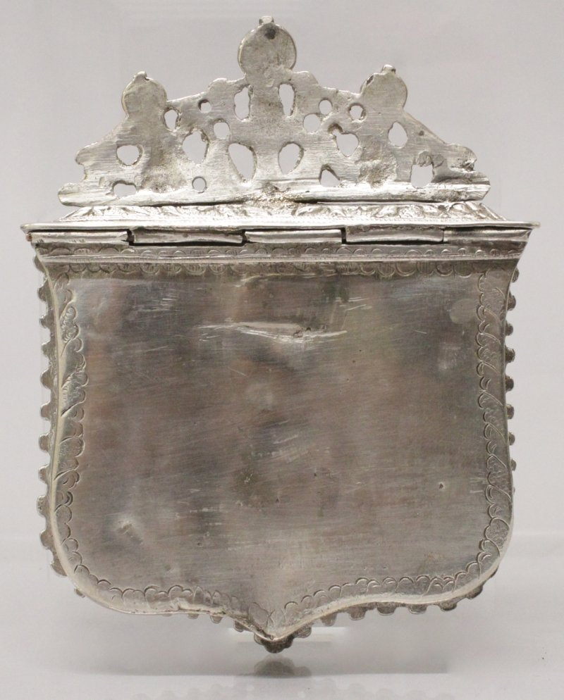 A 19TH CENTURY INDO-PERSIAN SILVER METAL BOX, with - 2