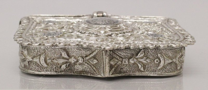 A 19TH CENTURY INDO-PERSIAN SILVER METAL BOX, with - 5