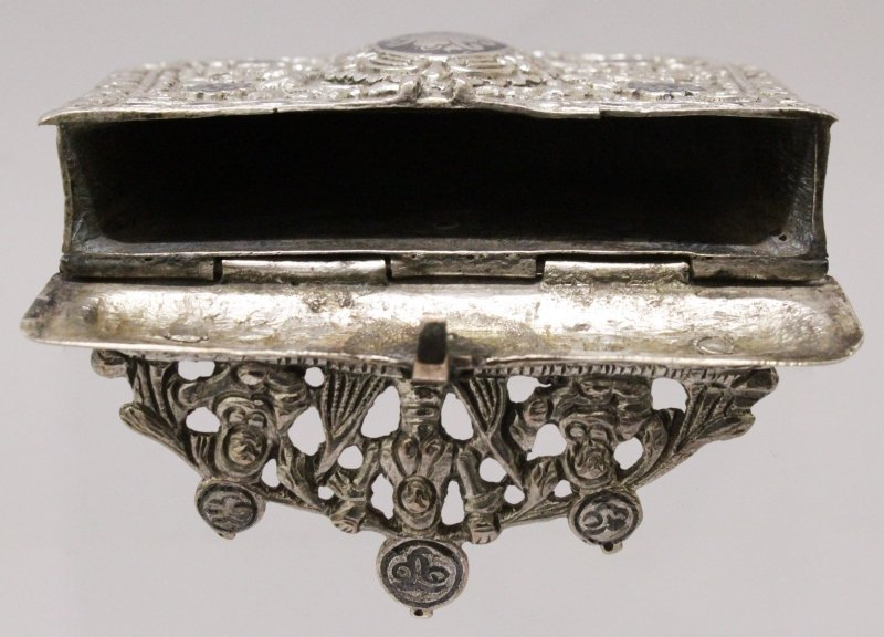 A 19TH CENTURY INDO-PERSIAN SILVER METAL BOX, with - 6