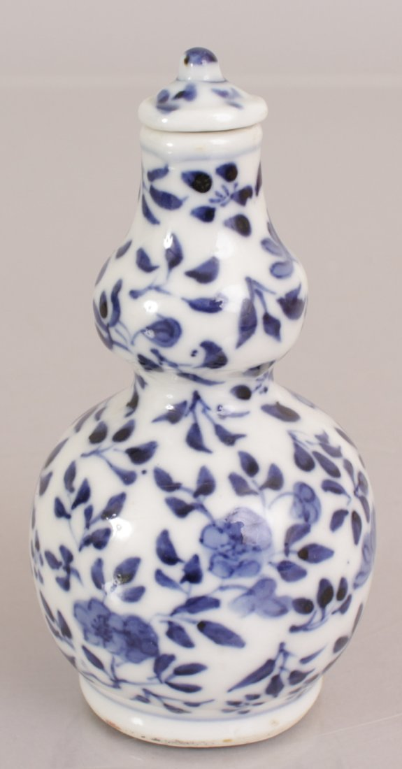 A 19TH CENTURY CHINESE BLUE & WHITE DOUBLE GOURD - 2