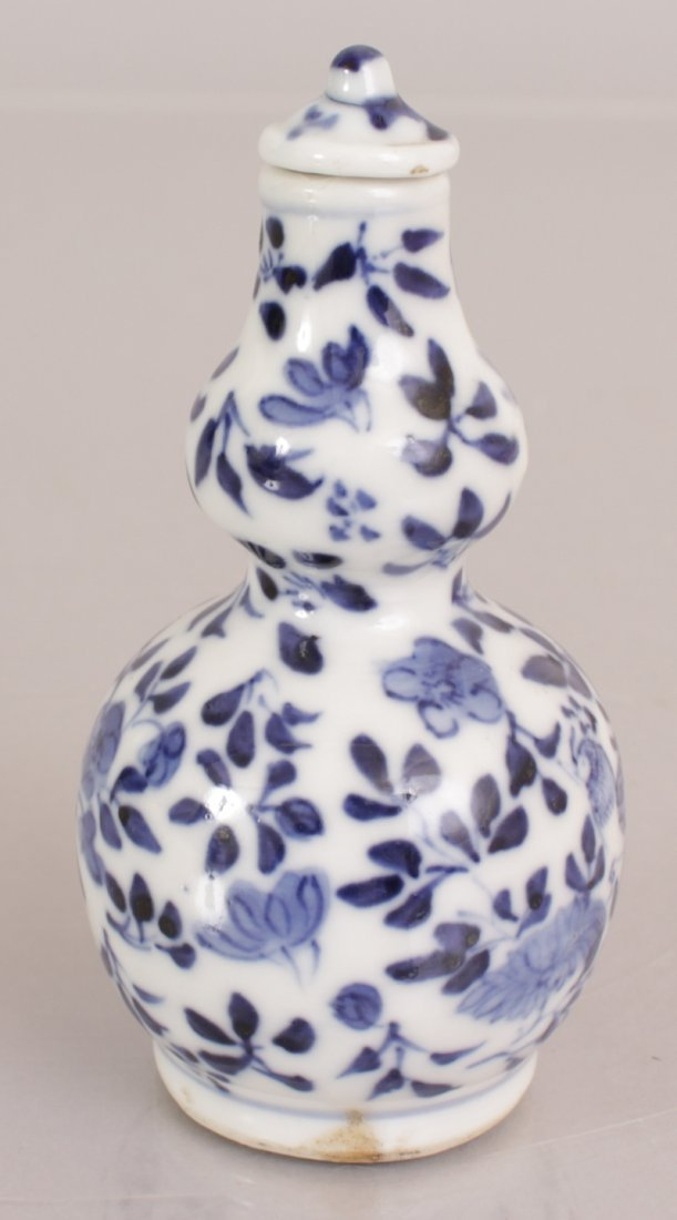 A 19TH CENTURY CHINESE BLUE & WHITE DOUBLE GOURD - 3