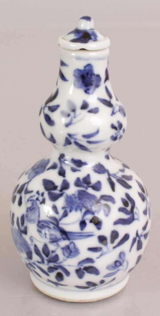 A 19TH CENTURY CHINESE BLUE & WHITE DOUBLE GOURD - 4