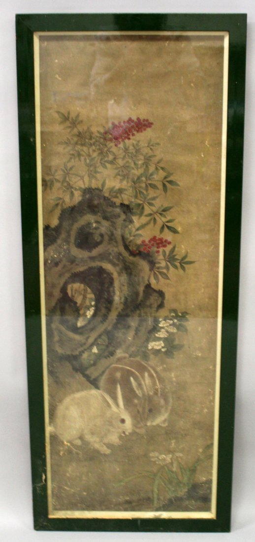 A LARGE CHINESE FRAMED PAINTING ON PAPER, possibly 19th