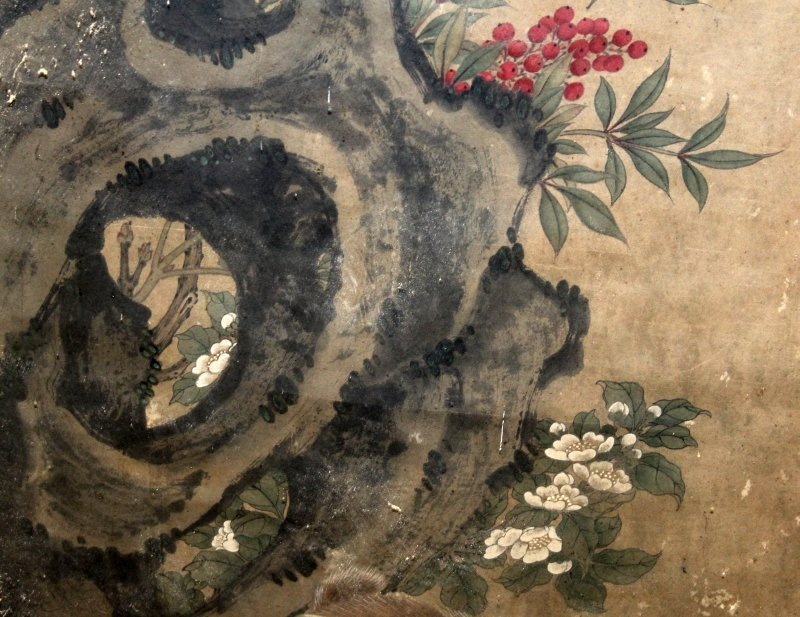 A LARGE CHINESE FRAMED PAINTING ON PAPER, possibly 19th - 3