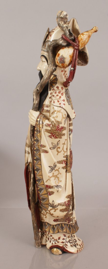 A LARGE GOOD SIGNED JAPANESE MEIJI PERIOD IVORY FIGURE - 4