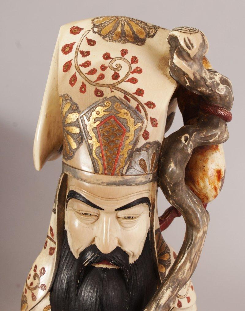 A LARGE GOOD SIGNED JAPANESE MEIJI PERIOD IVORY FIGURE - 5
