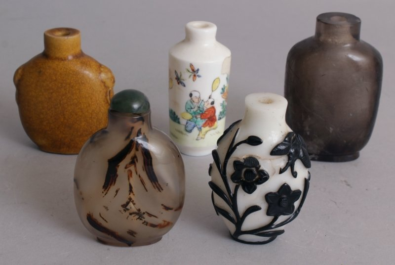 A GROUP OF TEN VARIOUS CHINESE SNUFF BOTTLES, including - 2