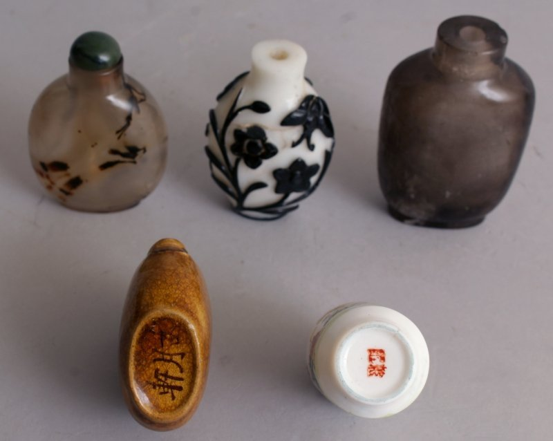 A GROUP OF TEN VARIOUS CHINESE SNUFF BOTTLES, including - 3