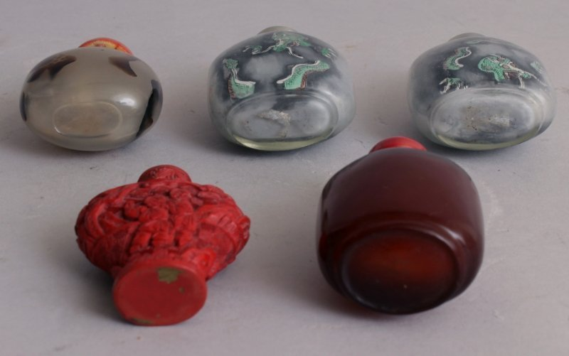 A GROUP OF TEN VARIOUS CHINESE SNUFF BOTTLES, including - 5
