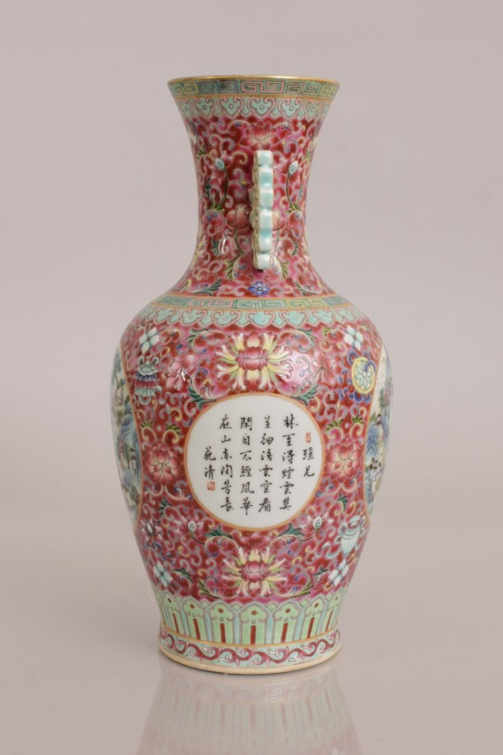 A GOOD QUALITY CHINESE PINK GROUND FAMILLE ROSE - 3
