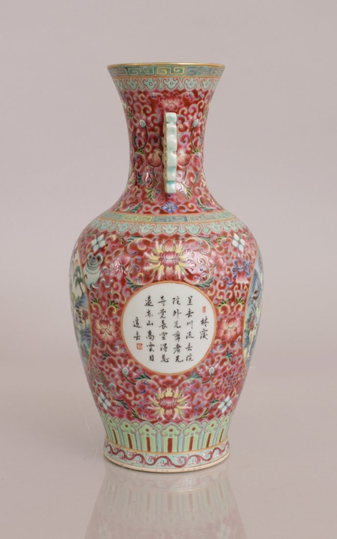 A GOOD QUALITY CHINESE PINK GROUND FAMILLE ROSE - 4
