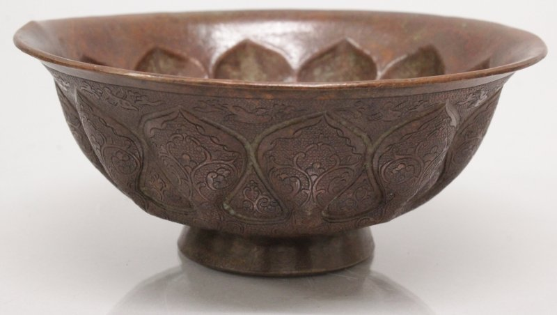 AN UNUSUAL CHINESE TANG STYLE BRONZED METAL BOWL, 5.2in