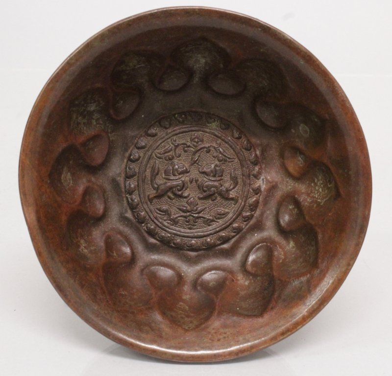 AN UNUSUAL CHINESE TANG STYLE BRONZED METAL BOWL, 5.2in - 3