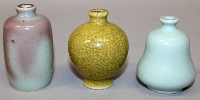 THREE CHINESE PORCELAIN SNUFF BOTTLES, the tallest - 3
