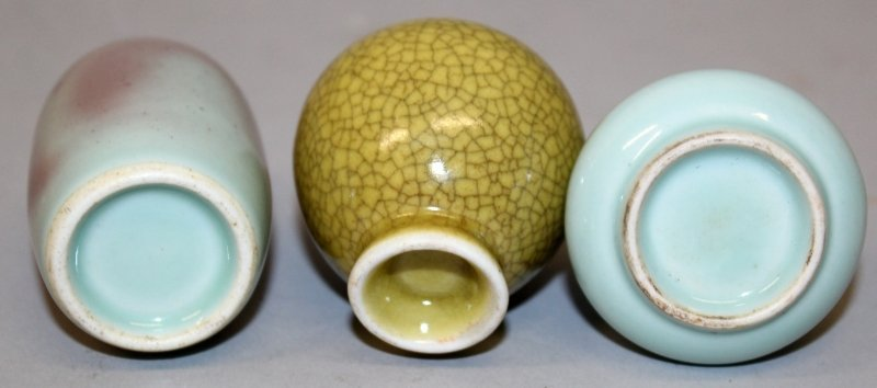 THREE CHINESE PORCELAIN SNUFF BOTTLES, the tallest - 6