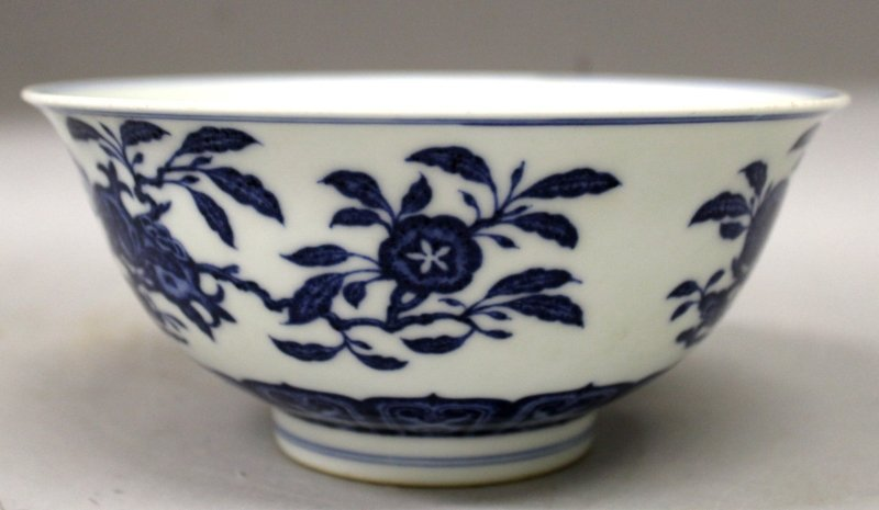 A CHINESE MING STYLE BLUE & WHITE PORCELAIN BOWL, the - 2