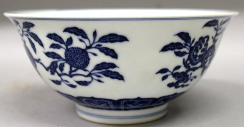 A CHINESE MING STYLE BLUE & WHITE PORCELAIN BOWL, the - 4