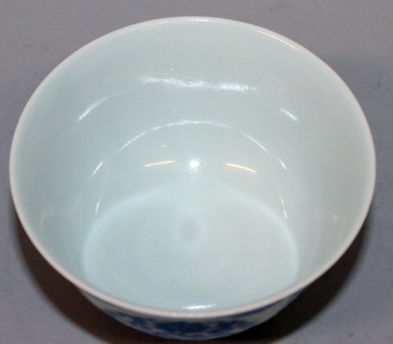 A CHINESE MING STYLE BLUE & WHITE PORCELAIN TEABOWL, - 3