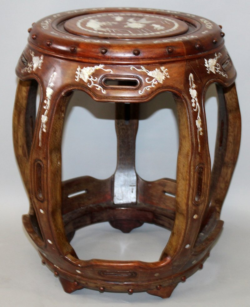 A CHINESE MOTHER-OF-PEARL INLAID BARREL FORM HARDWOOD - 5
