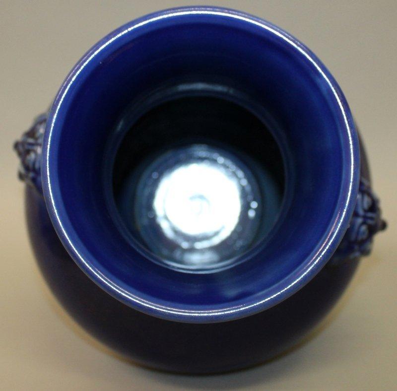 A LARGE CHINESE BLUE GLAZED PORCELAIN VASE, the - 5