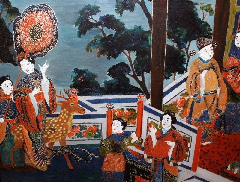 A 20TH CENTURY CHINESE REVERSE GLASS PAINTING, in a - 3