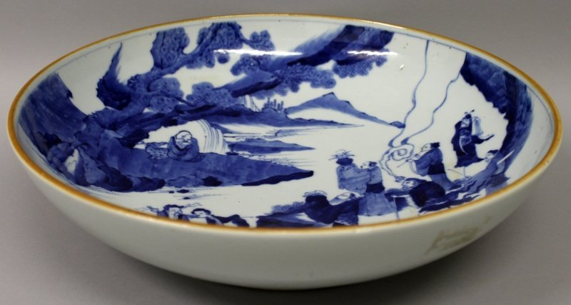 A LARGE CHINESE BLUE & WHITE PORCELAIN DISH, of saucer - 2