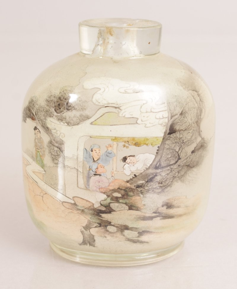 A 20TH CENTURY CHINESE INTERIOR PAINTED GLASS SNUFF