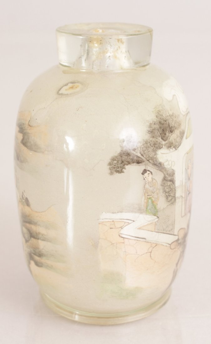 A 20TH CENTURY CHINESE INTERIOR PAINTED GLASS SNUFF - 2