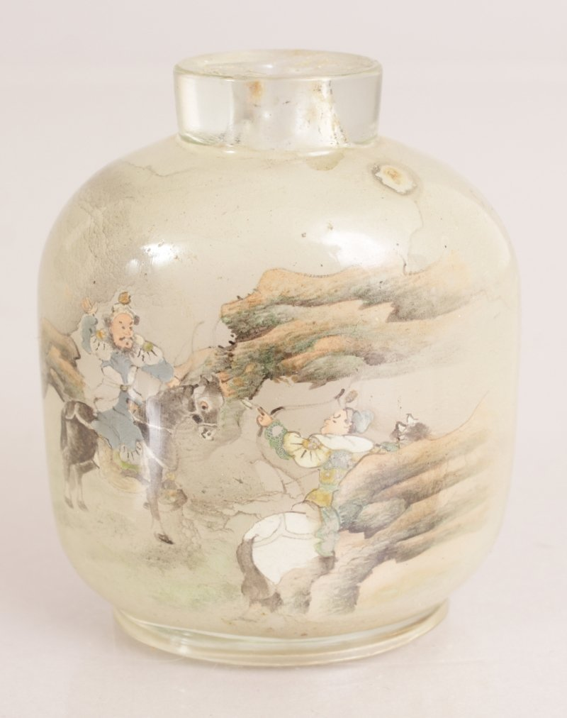 A 20TH CENTURY CHINESE INTERIOR PAINTED GLASS SNUFF - 3