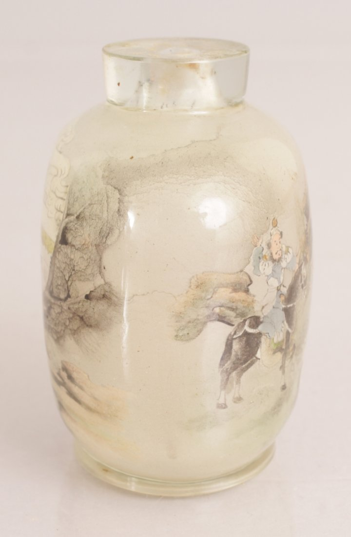A 20TH CENTURY CHINESE INTERIOR PAINTED GLASS SNUFF - 4