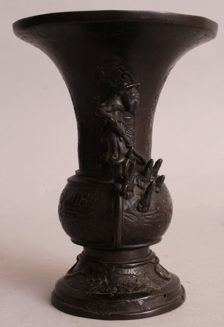 AN ORIENTAL MING STYLE BRONZE VASE, possibly early, the - 4