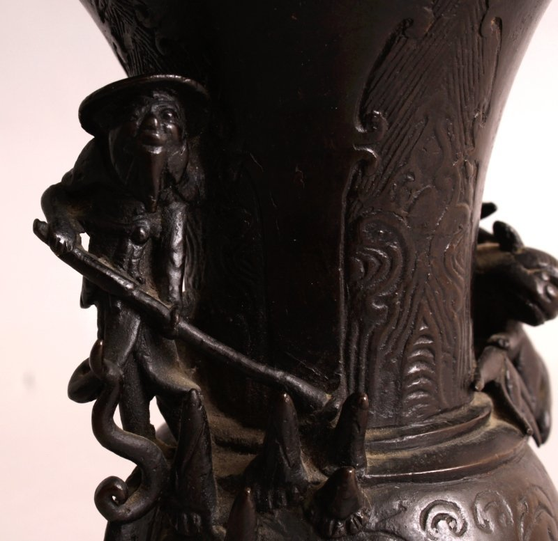AN ORIENTAL MING STYLE BRONZE VASE, possibly early, the - 7