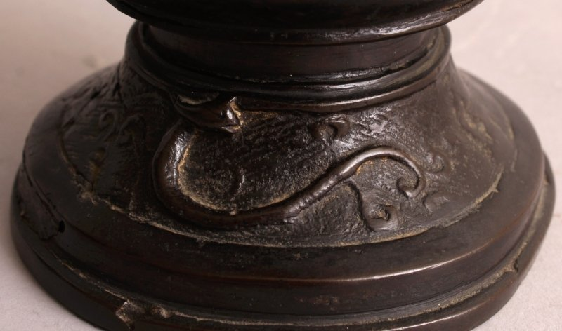 AN ORIENTAL MING STYLE BRONZE VASE, possibly early, the - 9