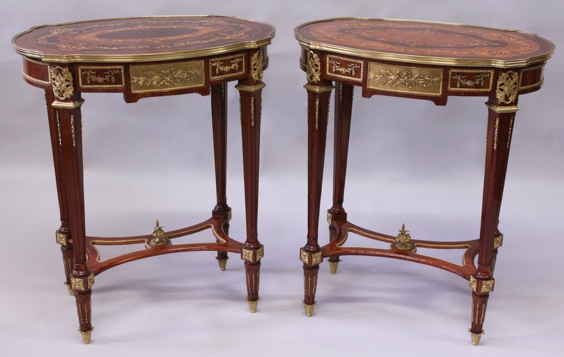 A PAIR OF LINKE STYLE KINGWOOD, MARQUETRY AND ORMOLU