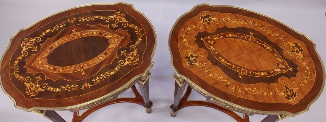 A PAIR OF LINKE STYLE KINGWOOD, MARQUETRY AND ORMOLU - 4