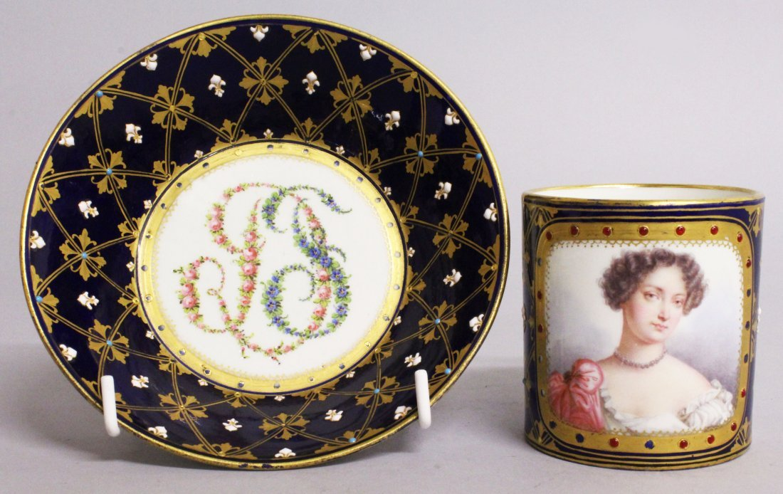A GOOD 18TH CENTURY SEVRES CUP AND SAUCER with rich