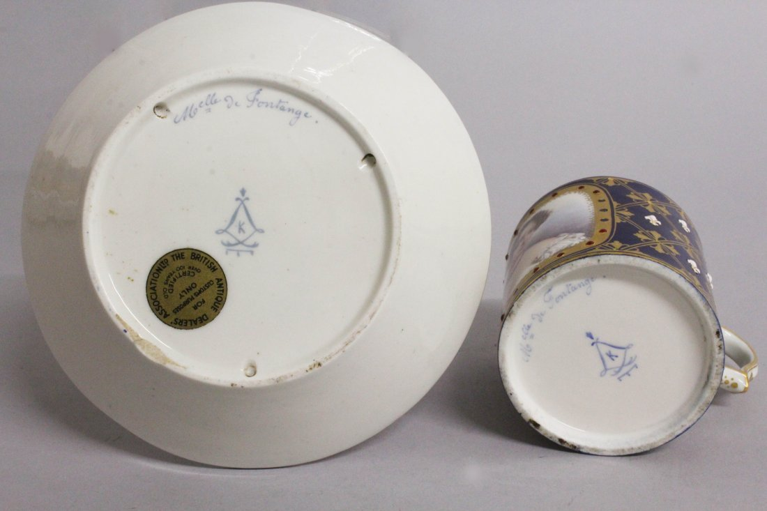 A GOOD 18TH CENTURY SEVRES CUP AND SAUCER with rich - 3