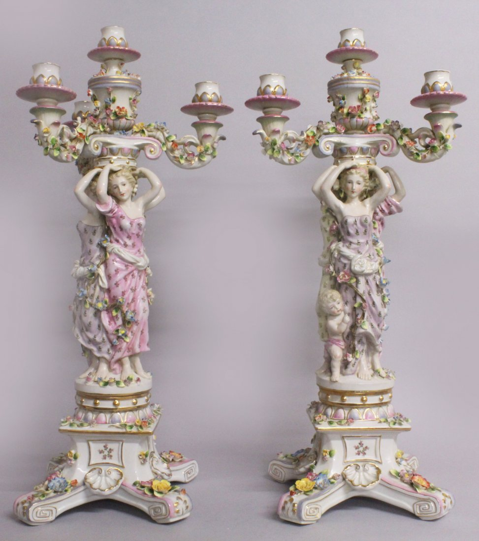 "A LARGE PAIR OF ""MEISSEN"" STYLE THREE LIGHT PORCELAIN"