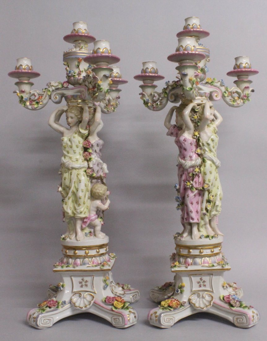 "A LARGE PAIR OF ""MEISSEN"" STYLE THREE LIGHT PORCELAIN - 3"