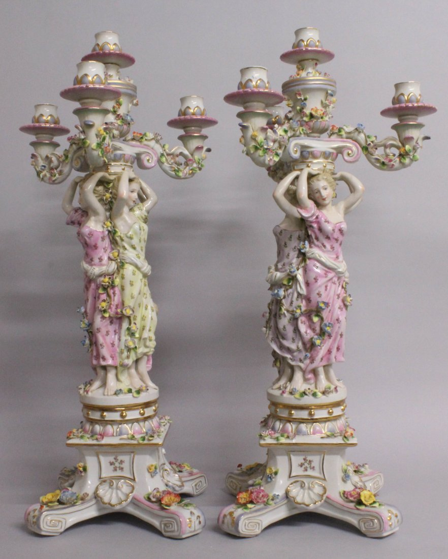 "A LARGE PAIR OF ""MEISSEN"" STYLE THREE LIGHT PORCELAIN - 4"