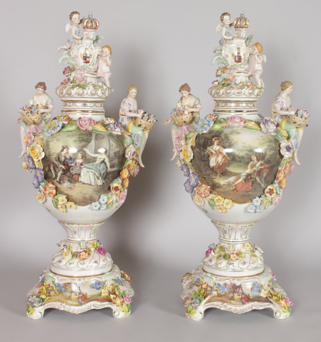 A GOOD PAIR OF DRESDEN STYLE FLOWER ENCRUSTED VASES,