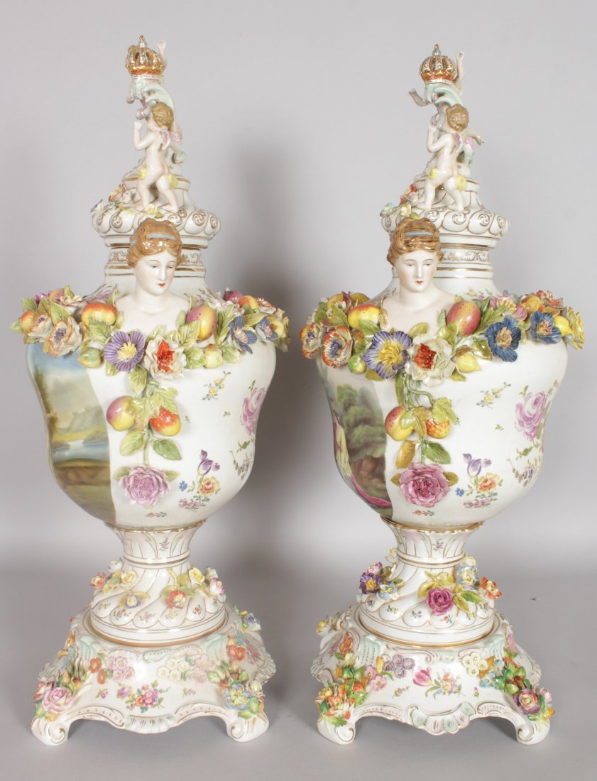 "A LARGE PAIR OF ""DRESDEN"" STYLE TWO HANDLED URNS, - 2"